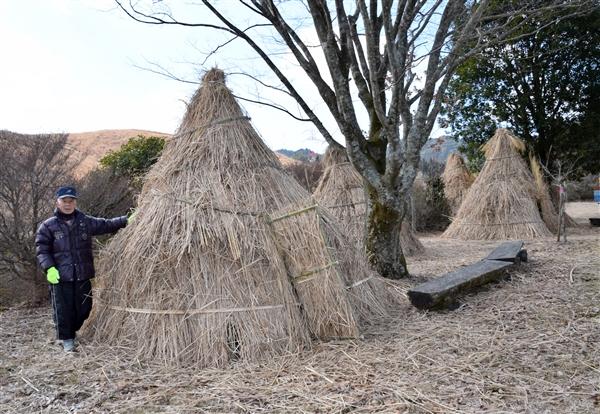 """旧田野小に""""竪穴式住居"""" 「草泊..."""